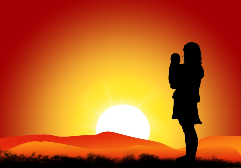 mom-and-baby-in-sunset