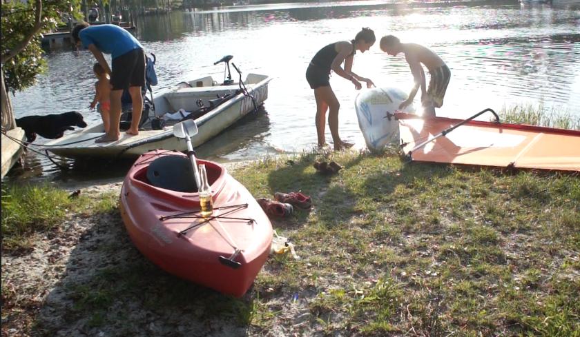 tara and dad prepping windsurf