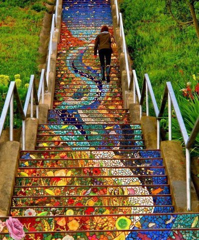 Inspired by the world-famous staircase in Rio de Janeiro, the 16th Avenue Tiled Steps boast a colorful mosaic that will enliven the area for San Francisco residents and visitors alike. via Pinterest