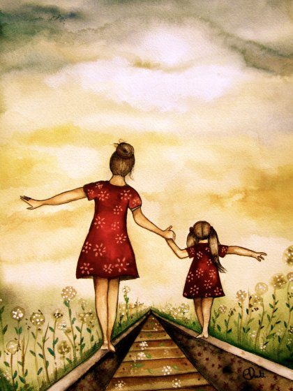 Mother and daughter with green blanket art by Claudia Tremblay. pinterest.com